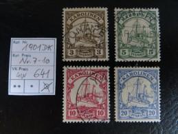 """1901  """" Kolonial-Schiffszeichnung """"   Ohne Wz.   4 Werte Gestempelt   LOT 641 - Kolonie: Karolinen"""