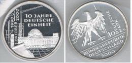 ALEMANIA DEUTSCHLAND 10 MARK 2000 D PLATA SILVER - [ 7] 1949-… : FRG - Fed. Rep. Germany