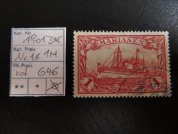 """1901  """" Kolonial-Schiffszeichnung """"   Ohne Wz.  1M Rot    Gestempelt   LOT 646 - Kolonie: Marianen"""