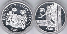 SIERRA LEONA 10 DOLLARS 2003 PLATA SILVER - Sierra Leone