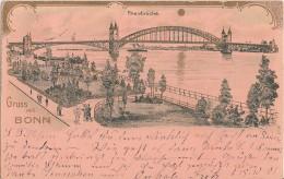 Litho Gruss Aus Bonn Rheinbrücke Gold-Karte Gelaufen 15.10.01 - Bonn
