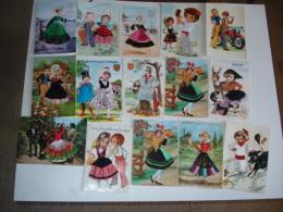 Lot De 20 Cartes Postales , Cartes Brodees Fils Et Tissus , Toutes Region France Et Espagne - Cartes Postales