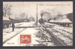 AGDE - Sous La Neige , Janvier 1914 - La Gare - Agde