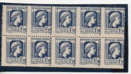 N° 214 - 1F50  Bleu  - Bloc De 10 Piquage Décalé - Algérie (1924-1962)