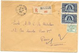 LPP7/B - TUNISIE LETTRE RECOMMANDEE MATEUR / PARIS 30/4/1951 - Tunisia (1888-1955)