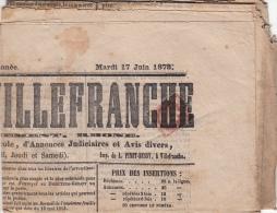 Journal De Villefranche 2cts (n°51) Oblitération Typo - 1849-1876: Klassik