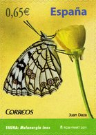 España 2011 Edifil 4623 Sello ** Fauna Mariposa Butterfly Melanargia Ines Spanish Marbled White 0,65€ Spain Stamps - 1931-Hoy: 2ª República - ... Juan Carlos I