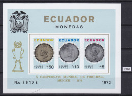ECUADOR 1973, FOOTBALL, SOCCER, MUNCHEN 1974, WORLD CUP, BLOCK: 65A, MNH, TOP - 1974 – Alemania Occidental