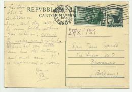 REPUBBLICA ITALIANA CART. POSTALE SPEDITA IL 27-11-51 - 6. 1946-.. Republik