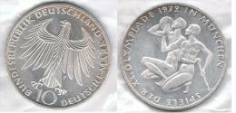 ALEMANIA 10 DEUTSCHE MARK F OLYMPIADE 1972  ATLETAS  PLATA SILVER - [ 7] 1949-… : FRG - Fed. Rep. Germany