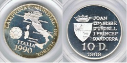 ANDORRA 10 DINEROS ITALIA 1990 1989 PLATA SILVER - Andorra