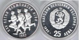 BULGARIA 25 LEBA OLIMPIADA 1990 PLATA SILVER - Bulgaria