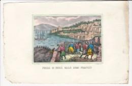 1850´s Italian Vintage Handcolored Print French Attack To BEJAIA Béjaïa Bgayet Vgaiet Bougie Bijaya  Dzayer Algeria - Historical Documents