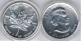 CANADA OUNCE 5 DOLLARS 2008 PLATA SILVER - Canada