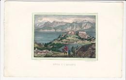 1850´s Circa Italian Vintage Handcolored Panoramic View Of BEJAIA Béjaïa Bgayet Vgaiet Bijāya Bougie Bijaya Dz - Historical Documents