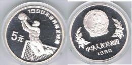 CHINA 5 YUANG  FUTBOL 1990 PLATA SILVER - China