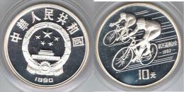 CHINA 10 YUAN  CICLISMO 1990 PLATA SILVER - China