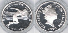 COOK ISLANDS 10 DOLLARS 1990 BARCELONA PLATA SILVER - Islas Cook