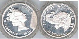 COOK ISLANDS 10 DOLLARS 1990 WORLD WILDLIFE PLATA SILVER - Islas Cook