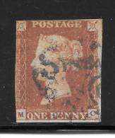 Grande-Bretagne (GB) Victoria 1841 - Penny Rouge Planche 9 MC (black Plates) - Used Stamps