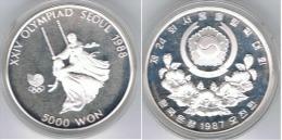 COREA DEL SUR 5000 WON COLUMPIO 1987 OLYMPIAD SEOUL PLATA SILVER - Coreal Del Sur