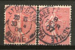 N° 129°x2_Paris-Gare Bastille 1907_Lyon-Gare 1906 - Marcophily (detached Stamps)