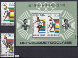 TOGO 1974, FOOTBALL, SOCCER, MUNCHEN 1974, WORLD CUP, Mi: 1066 - 1067 + BLOCK 90, MNH, Cpl. Set - Coppa Del Mondo