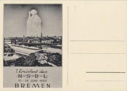 DR Anlasskarte Zum 1. Kreisfest Des N.S.R.L. Bremen EF Minr.828 SST Bremen 10.1.43 FDC - Deutschland