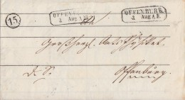 Baden Brief Offenburg 3.8. Mit Uhrradstempel 15 - Baden