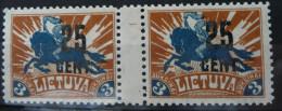 1922 LIETUVA / Litauen / Lithuania Mi#170* MINT GUTTER PAIR.RARE. +ATTEST KLEIN.