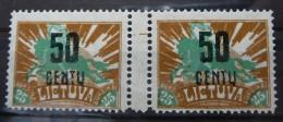 1922 LIETUVA / Litauen / Lithuania Mi#174* MINT GUTTER PAIR.RARE. +ATTEST KLEIN.