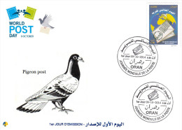 ALG Algeria 2014 FDC Postal Services - Pigeon Post World Post Day - Airmail - Mail - Fauna Birds - Columbiformes