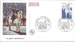 FDC Premier Jour Paris 1980 Garde Républicaine Cheval Militaire Armée Gendarme - Horses