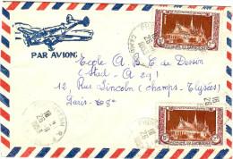 LPP7/B - CAMBODGE - LETTRE   AVION  PHNOMPENH / PARIS  26/11/1953 - Cambodia