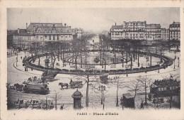 PARIS  XIII°  Place D' ITALIE Et Son BASSIN MAIRIE  Animation  ATTELAGES OMNIBUS - Paris (13)