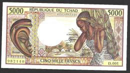CHAD  : 5000 Francs  - (1984-1991) - P11 -  AUNC - Chad