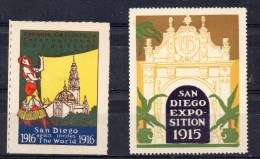 2 Vignettes: Exposition San Diego (USA) 1915 Et 1916 - Cinderellas