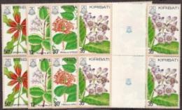 Kiribati,  Scott 2015 # 365-368,  Issued 1981,  4 Gutter Blocks Of 4,  MNH,  Cat $ 4.00,  Flowers - Kiribati (1979-...)