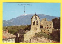 C-P-M-(84.Vaucluse)-Puymeras,près De Vaison La Romaine,clocher De L'église,plan Arriére: Le Mont-Ventoux,sous La Neige. - Pernes Les Fontaines