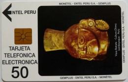 PERU - EC-1 - Entel - Gemplus - Vaso Retrato Gold - 50 Units - Mint - RRR - Peru