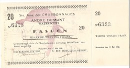 Noodgeld - Charbonnages A. Dumont - Waterschei - Kasbon 20 fr