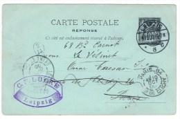 E1. Type Sage. EP. CP/RP Partie Réponse De Leipzig 8.10.00. Paris + Le Vesinet + Facteur De Distribution 2/14 - Cartes Postales Types Et TSC (avant 1995)