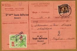 Carte Récépissé Ontvangkaart 341 Perforé Perforated Perfin Louis Delhaize Ransart Timbre Fiscal - Belgique