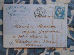 ZZ_06_variété Sur N°22 Sur Lettre De Chateau-Thierry  Ecrite A Jaulbonne!! A Voir!! - 1862 Napoleon III