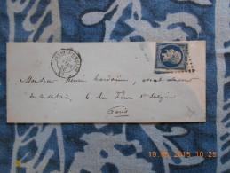 ZZ_17_variété Sur N°14 Sur Lettre De Avesnes-s-helpes Nuance  Bleu-noir!!a Voir!! - 1853-1860 Napoléon III.