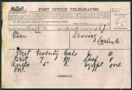 1876 GB Post Office Telegraph Carlisle - 1840-1901 (Victoria)