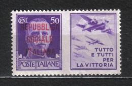 SS5487  - REPUBBLICA SOCIALE 1944 ,  50 Cent  Verde *  Mint - 4. 1944-45 Repubblica Sociale