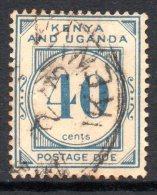 Kenya, Uganda & Tanganyika 1928 Postage Dues - 40c Blue Used - Kenya, Uganda & Tanganyika