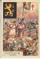 OEuvre Nationale Contra La Tuberculose Postcard,  Jean I Conquiert Le Limbourge, Jan I Verovert Limburg, Woeringen 1288 - History