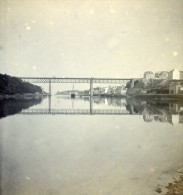 France Bretagne Douarnenez Pont & Port Ancienne Stereo Photo Stereoscope 1900 - Stereoscopic